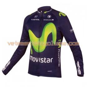 Tenue Cycliste Manches Longues et Collant à Bretelles 2016 Movistar Team N001
