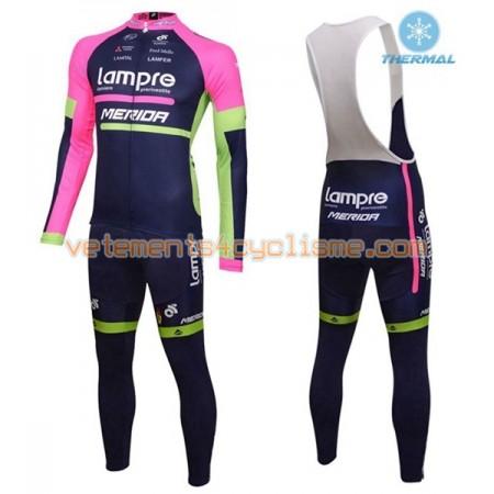 Tenue Cycliste Manches Longues et Collant à Bretelles 2016 Lampre-Merida Hiver Thermal Fleece N001