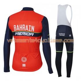 Tenue Cycliste Manches Longues et Collant à Bretelles 2017 Bahrain Merida Hiver Thermal Fleece N001
