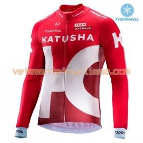 Tenue Cycliste Manches Longues et Collant à Bretelles 2016 Team Katusha Hiver Thermal Fleece N001