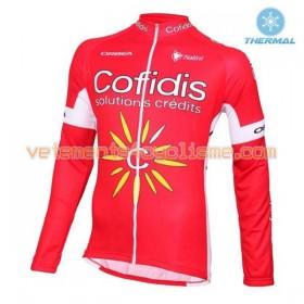 Tenue Cycliste Manches Longues et Collant à Bretelles 2016 Cofidis Pro Cycling Hiver Thermal Fleece N001