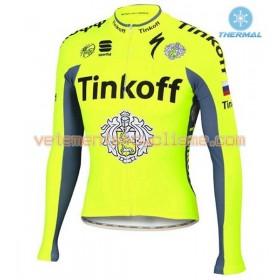 Tenue Cycliste Manches Longues et Collant à Bretelles 2016 Tinkoff Hiver Thermal Fleece N001