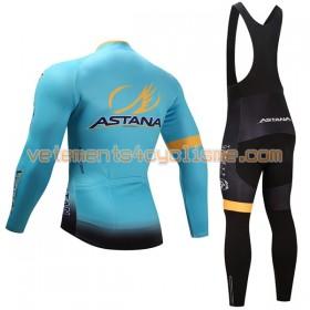 Tenue Cycliste Manches Longues et Collant à Bretelles Femme 2017 Astana Pro Team Hiver Thermal Fleece N001