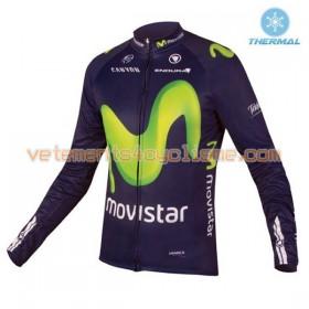 Tenue Cycliste Manches Longues et Collant à Bretelles 2016 Movistar Team Hiver Thermal Fleece N001
