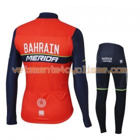 Tenue Cycliste Manches Longues et Collant Long Enfant 2017 Bahrain Merida Hiver Thermal Fleece N001