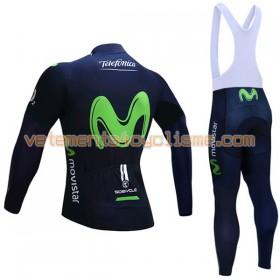 Tenue Cycliste Manches Longues et Collant à Bretelles 2017 Movistar Team Hiver Thermal Fleece N001