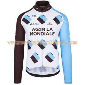 Tenue Cycliste Manches Longues et Collant à Bretelles 2017 AG2R La Mondiale N001