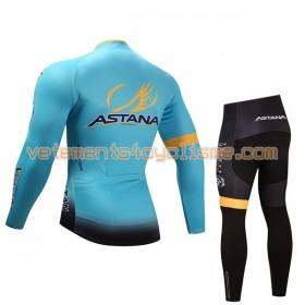 Tenue Cycliste Manches Longues et Collant Long Enfant 2017 Astana Pro Team Hiver Thermal Fleece N001