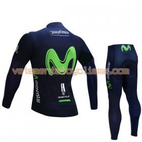 Tenue Cycliste Manches Longues et Collant Long Enfant 2017 Movistar Team Hiver Thermal Fleece N001