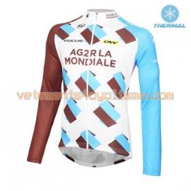 Tenue Cycliste Manches Longues et Collant à Bretelles 2016 AG2R La Mondiale Hiver Thermal Fleece N001