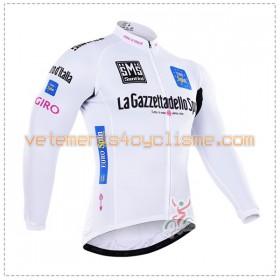 Tenue Cycliste Blanc Manches Longues et Collant à Bretelles 2016 Giro dItalia Hiver Thermal Fleece